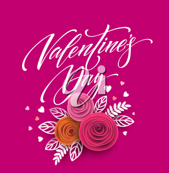 Card of valentines day lettering in paper flower background. Vector illustration EPS10