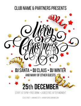 Merry Christmas handwriting script lettering. Christmas greeting background withbstreamers, confetti. Vector illustration EPS10