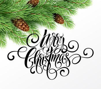 Greeting card with christmas tree and calligraphic sigh Merry Christmas. Vector holiday illustration EPS10