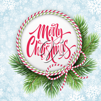 Merry Christmas lettering in circle rope frame. Xmas greeting with fir branches and striped bow. Merry Christmas calligraphy in round frame on snowflakes background. Poster design. Vector illustration