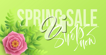 Spring sale banner with paper flowers and calligraphy lettering. Vector illustration EPS10
