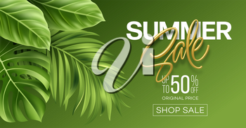 Golden metallic summer sale lettering on a bright background from green tropical leaves of plants. Vector illustration EPS10