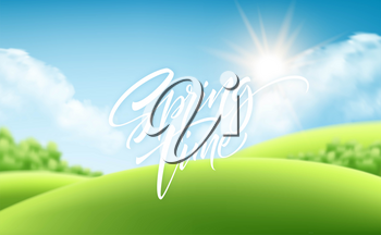 Spring time green grass landscape background with handwriting lettering. Vector illustration