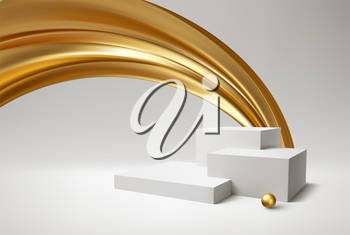 Background 3d white podium product and realistic golden swirl on the white background. Modern white cube podium, great design for any purposes. Vector illustration EPS10