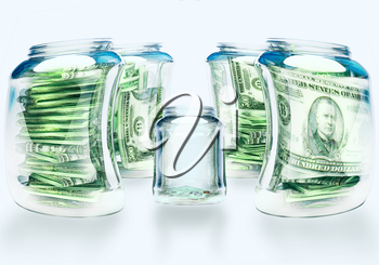 Glass flasks with money and empty flask - wealth and poverty concept.