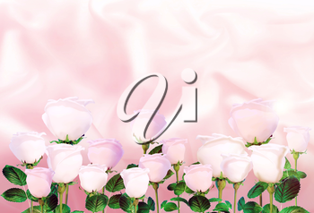 Pale pink roses on the background of light pink satin.