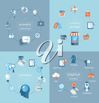 Flat design modern vector illustration infographics, Vector web design concept - business, commerce, planing, consulting - icons and sign in flat style.