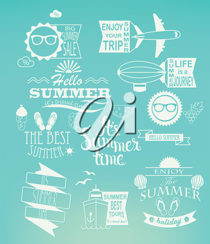 Summer holidays design elements and typography set. Retro and vintage templates. Labels, Badges, Posters.