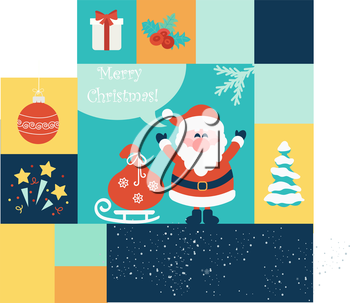 Set of Christmas and New Year flat icons. Vector illustration. EPS 10.