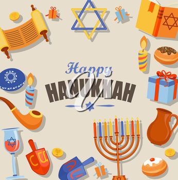 Happy Hanukkah typography card template, banner and flyer. Vector illustration.