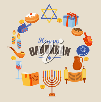 Happy Hanukkah typography card template or banner or flyer.