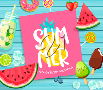 Summer lettering on blue wooden background with pineapple, watermelon, detox, ice, donut, ice cream, lime and candy. Vector Illustration.