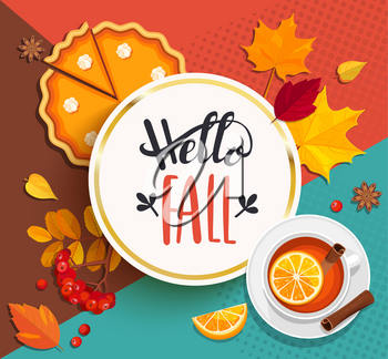 Hello Fall lettering in gold frame on geometric background with pupmkin pie, hot tea and autumn leaves. Vector illustration.