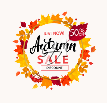 Bright autumn sale banner in circle frame from autumn leaves. Vector illustration.