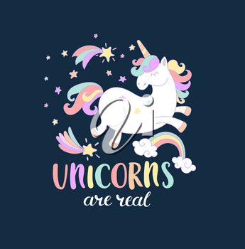 Lettering Unicorn are real with stars, rainbow and shooting stars. Vector illustration for you design, print.