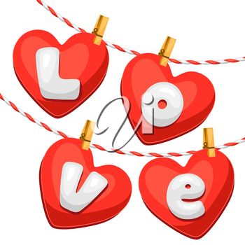 Greeting card with hearts. Concept can be used for Valentines Day, wedding or love confession message.