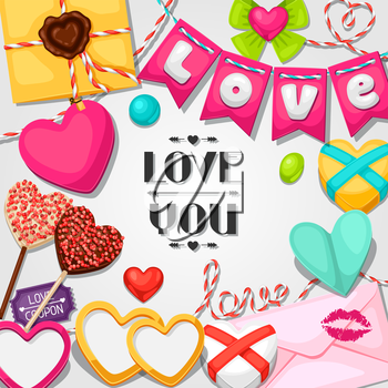Greeting card with hearts, objects, decorations. Concept can be used for Valentines Day, wedding or love confession message.