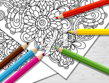 Adult coloring concept with pencils, printed pattern. Illustration of trend item to relieve stress and creativity.