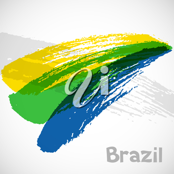 Brazil abstract background with grunge paint strokes in color of flag. Design for covers, brochure, advertising banner.