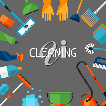 Housekeeping background with cleaning icons. Image can be used on advertising booklets, banners, flayers, article, social media.