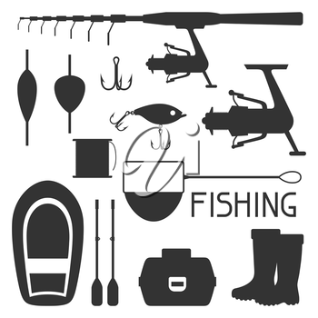 Set of fishing supplies. Objects for decoration, design on advertising booklets, banners, flayers.