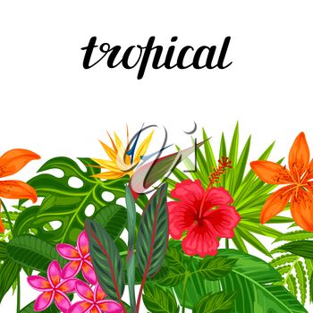 Seamless horizontal border with tropical plants, leaves and flowers. Background made without clipping mask. Easy to use for backdrop, textile, wrapping paper.