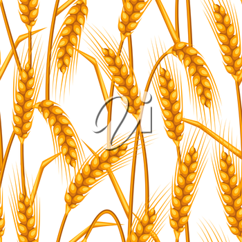Seamless pattern with wheat. Agricultural image natural golden ears of barley or rye. Easy to use for backdrop, textile, wrapping paper, wallpaper.