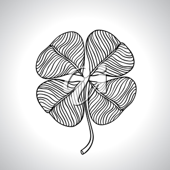 Black macro clover leaf natural isolated. Vector illustration.