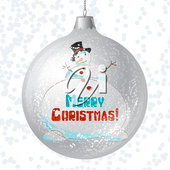 Vector Merry Christmas card with brilliant glossy ball.