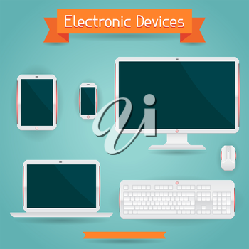 Electronic devices - computer laptop tablet and phone.