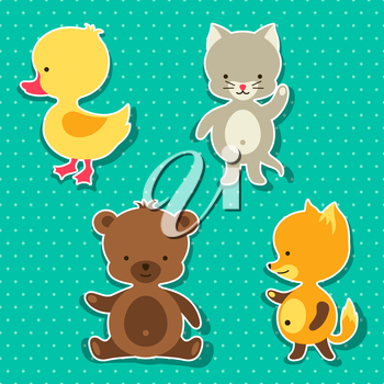 Little cute baby cat bear fox and duck stickers.
