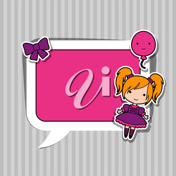 Speech bubble with sticker kawaii doodles.