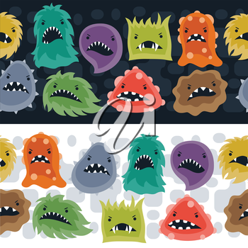Seamless pattern with little angry viruses, microbes and monsters.