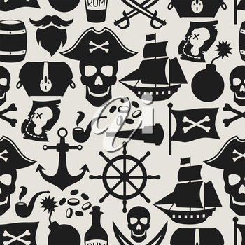 Seamless pattern on pirate theme with objects and elements.
