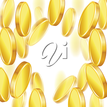 Falling gold shiny coins on white background.