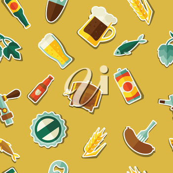 Seamless pattern with beer sticker icons and objects.
