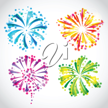 Set of bright colorful fireworks and salute.