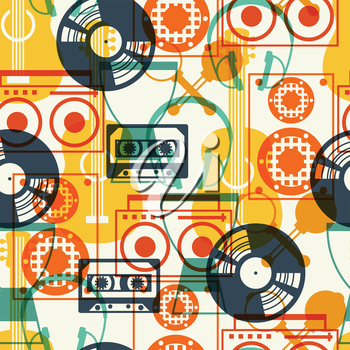 Seamless pattern with musical instruments in flat design style.