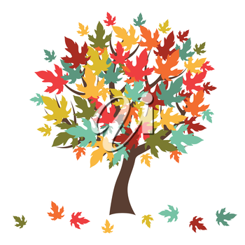 Stylized autumn tree with falling leaves for greeting card.