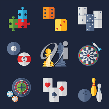 Set of game icons in flat design style..