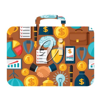 Business and finance concept from icons in shape of briefcase.