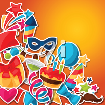 Carnival show and party greeting card with celebration stickers.