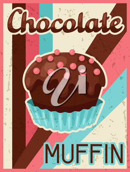 Poster with chocolate bar in retro style.