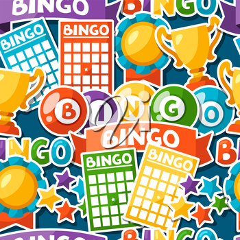 Bingo or lottery game seamless pattern with balls and cards.