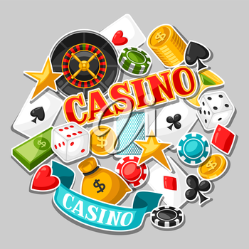 Casino gambling background design with game sticker objects.