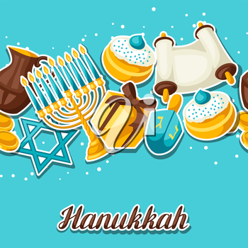 Jewish Hanukkah celebration seamless pattern with holiday sticker objects.