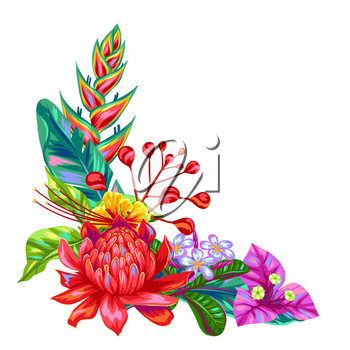 Decorative object with Thailand flowers. Tropical multicolor plants, leaves and buds.