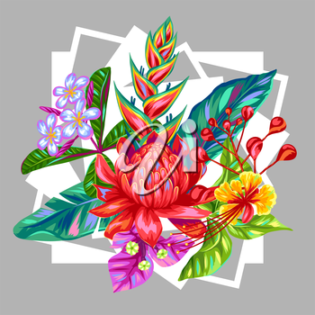 Print with Thailand flowers. Tropical multicolor plants, leaves and buds.