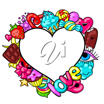 Kawaii heart frame with sweets and candies. Crazy sweet-stuff in cartoon style.