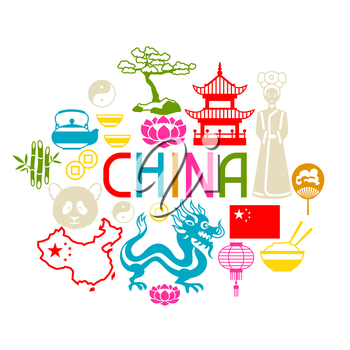 China background design. Chinese symbols and objects.